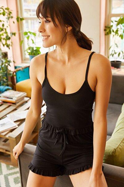 Kadın Siyah Askılı Fırfırlı Pijama Takımı