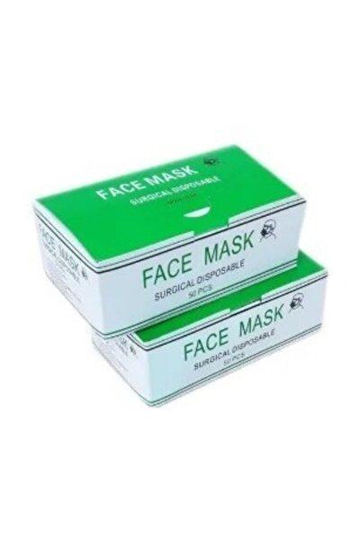 BURUN TELLİ 100 Adet SERTİFİKALI Cerrahi Maske 3 Katlı Lastikli Medikal (2 Kutu) (TELLİ Non Woven)
