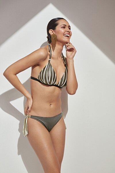 Bej Kaplı Üçgen Bikini Takımı