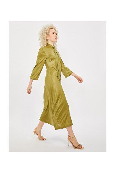 Yakası Bağlamalı Uzun Kol Midi Elbise
