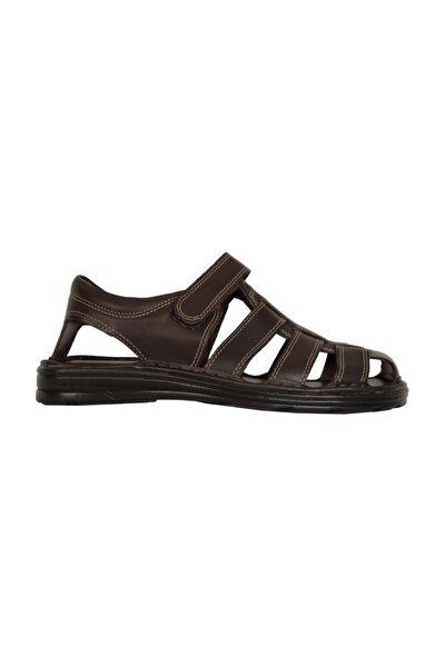 Hakiki Deri Kahverengi Erkek Sandalet