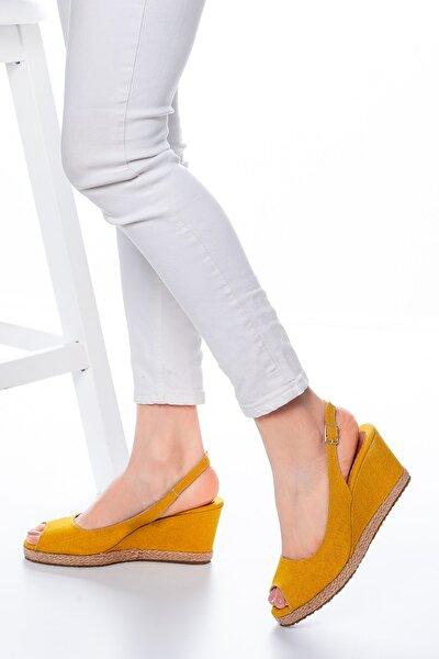 Kadın  Sarı Keten Dolgu Topuklu Ayakkabı Md1013-120-0001