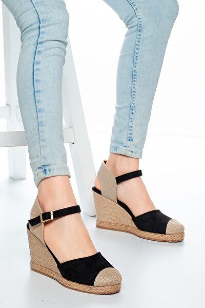 Kadın  Hasır Keten Dolgu Topuklu Ayakkabı Siyah   Md1013-120-0004