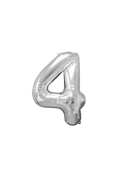Folyo Gümüş 4 Sayı Balon Büyük Boy 100 cm Helyum Kaliteli Organizasyon Doğum Günü Eğlence Söz Nişan