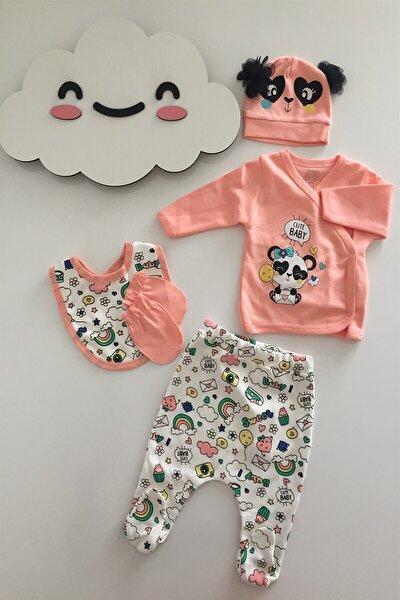 Kız Bebek 5 Parça Hastane Çıkışı %100 Pamuk Ürün Panda Detaylı