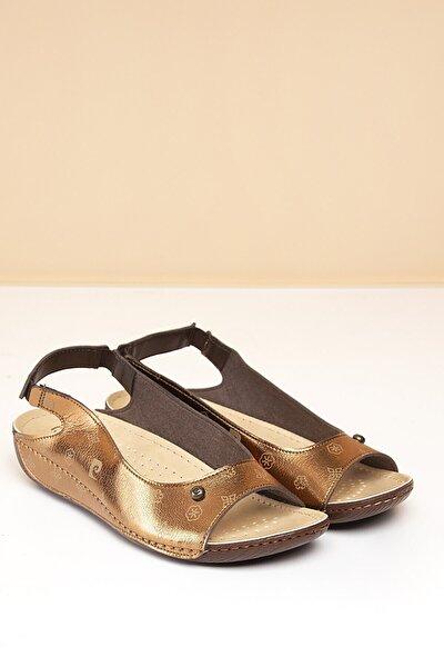 PC-1360 Bronz-Bej Kadın Sandalet