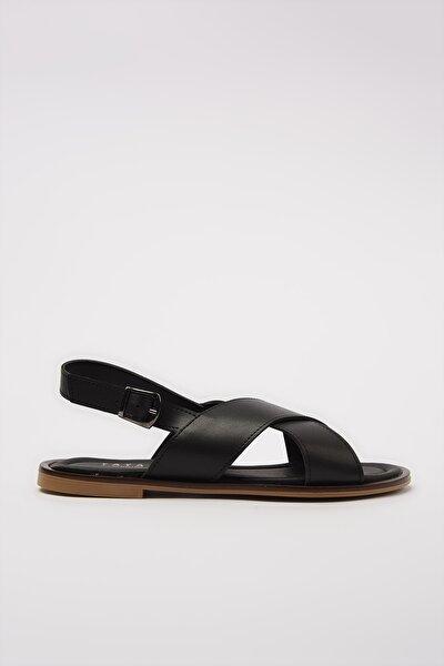 Hakiki Deri Sıyah Kadın Sandalet 01SAY600510A100