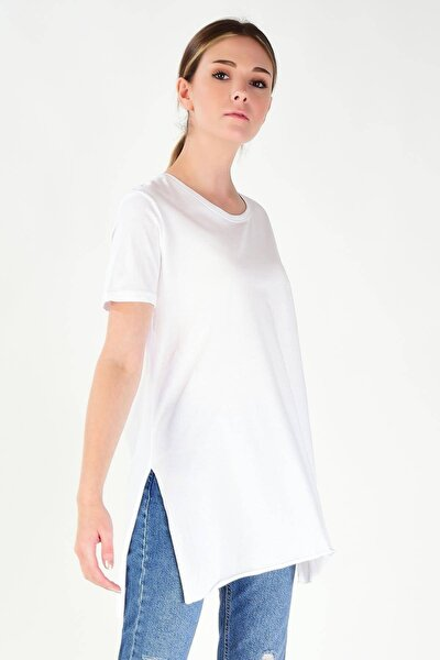 Kadın Beyaz Bisiklet Yaka T-Shirt P0101 - H2 ADX-00007204