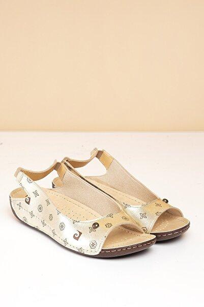 PC-1360 Altın-Kahve Kadın Sandalet