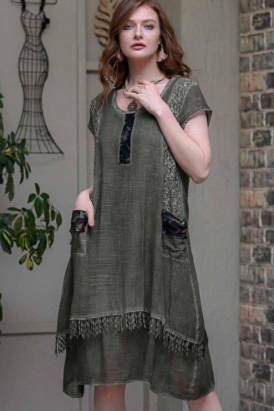 Kadın Haki Dantel Ve Tülbent Detaylı Saçaklı Cepli Astarlı Yıkamalı Dokuma Elbise  M10160000EL97237
