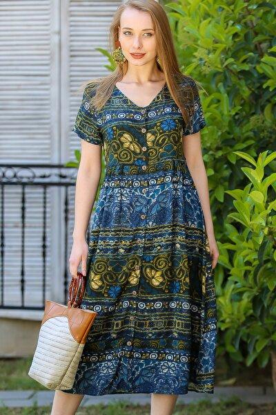 Kadın Yeşil Vintage Çiçek Desenli Süs Düğme Detaylı Elbise M10160000El96894