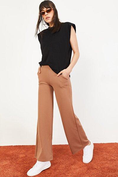 Kadın Beli Lastikli Bol Paça Pantolon Taba 10031052