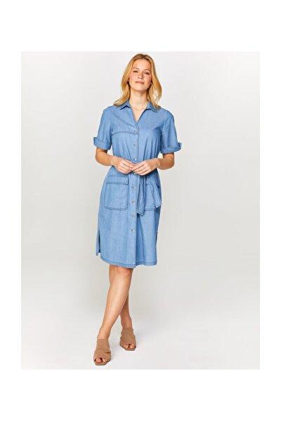 Kadın Mavi Kısa Kollu Jean Elbise 60452