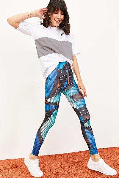 Kadın Çizgili Desenlİ Digital Baskılı Yüksek Bel Toparlayıcı Spor Tayt Çok Renkli 10061029