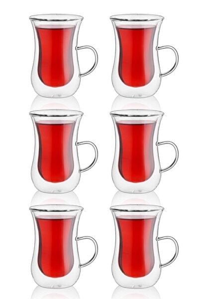 Çift Cidarlı Kulplu 6'lı Çay Bardağı
