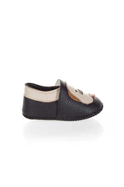 Hakiki Deri Köpekli Siyah Patik Makosen Kız Bebek Ayakkabısı Ws 6052