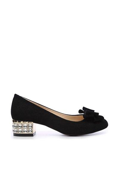 Hakiki Deri Siyah Kadın Topuklu Ayakkabı 357 520 BN AYK Y19