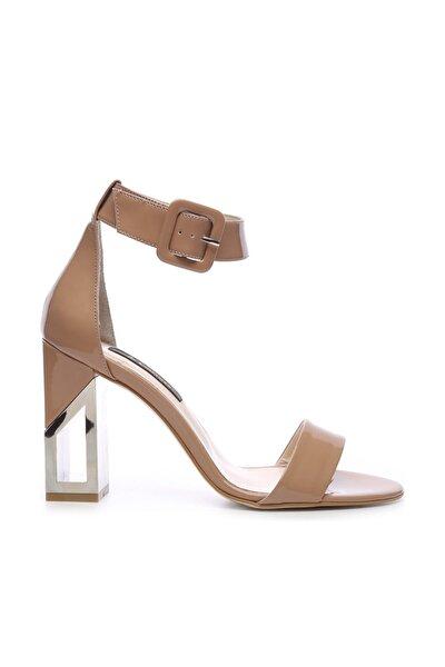 Hakiki Deri Bej Kadın Klasik Topuklu Ayakkabı 94 6500Y BN AYK Y19