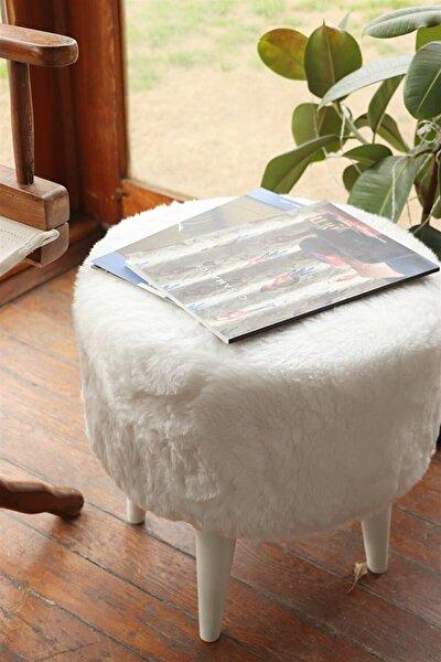 Yuvarlak Beyaz Peluş Puf Beyaz Ayaklı Kmpny050607