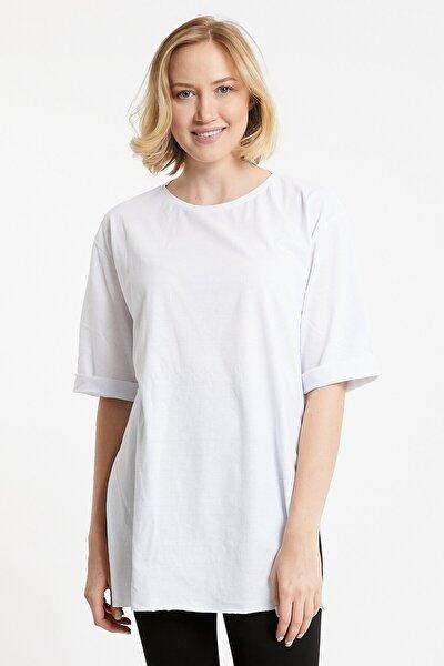 Salaş Basic Düz Renk T-shirt Oversize Beyaz Tişört