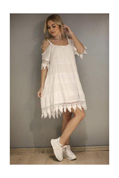 Kadın Omzu Dekolteli Ipek Elbise