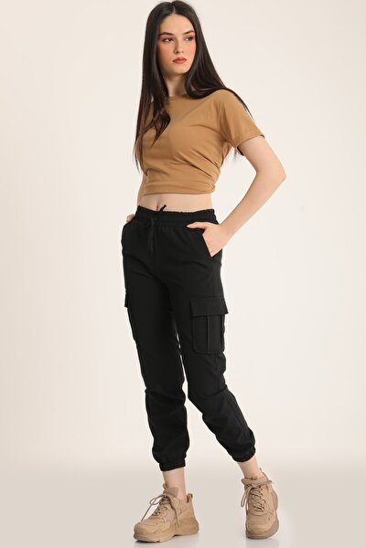 Kadın Siyah Bel Lastikli Kargo Cepli Pantolon Mdt5296