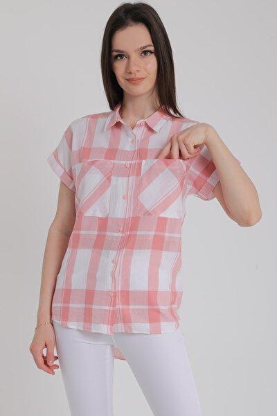 Kadın Pudra Ekose Kısa Kollu Cepli Uzun Gömlek Mdt5491