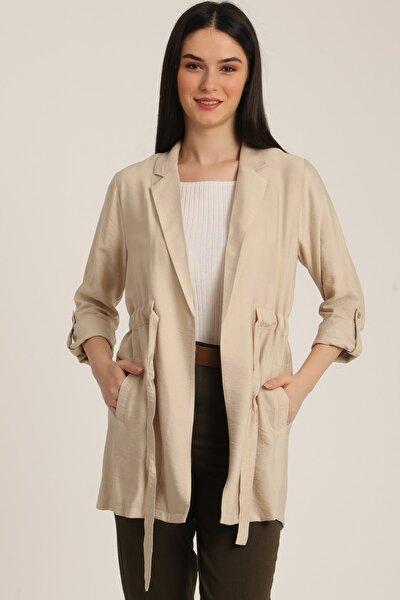 Kadın Bej Bel Kemerli Cepli Blazer Ceket Mdt5365