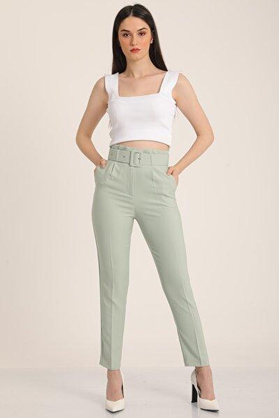 Kadın Mint Yeşil Kemerli Yüksek Bel Kumaş Pantolon Mdt5032