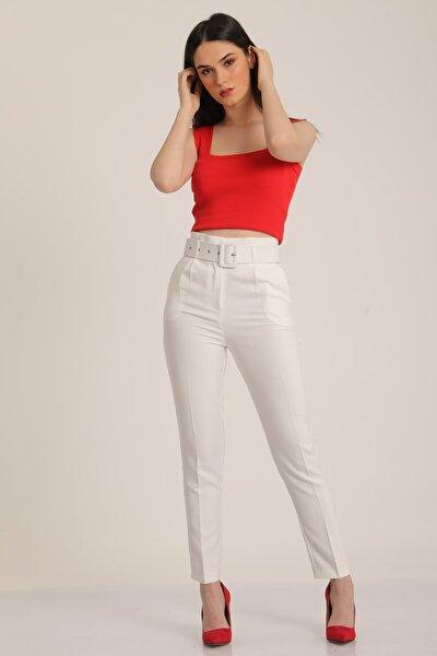 Kadın Beyaz Kemerli Yüksek Bel Kumaş Pantolon Mdt5032