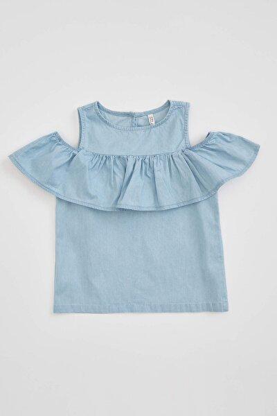 Kız Çocuk Kolsuz Jean Bluz
