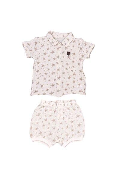 Bebek Bej Crinkle Gömlekli 2'li Takım
