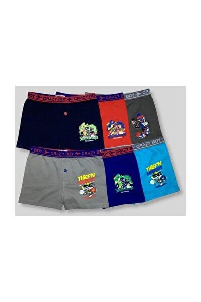Erkek Çocuk Çok Renkli 6'Lı Paket Elastan Pamuk Baskılı Boxer Çok Renkli