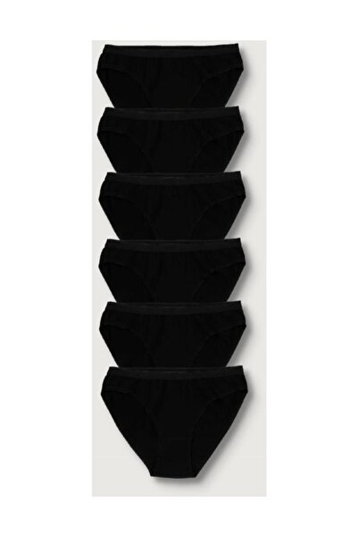 Kadın Siyah 6'lı Paket  Bikini Külot ELF568T0635CCM6 Siyah Tek Ebat