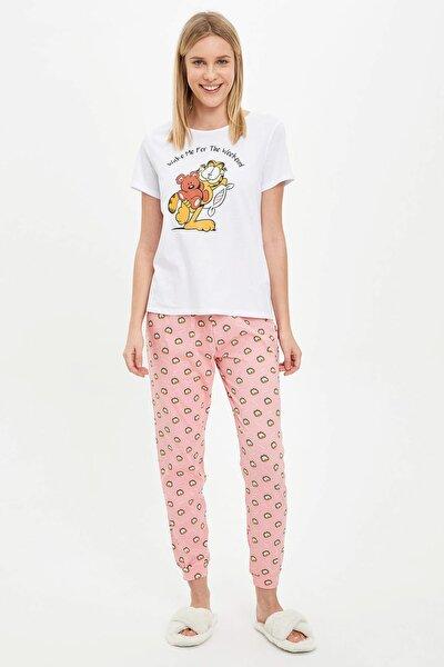 Kadın Pembe Garfield Lisans Baskılı Pijama Takımı R1326AZ.20SM.PN79