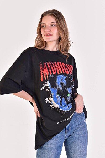Kadın Füme Baskılı T-Shirt ADX-0000021585