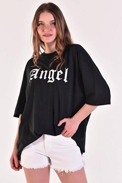 Kadın Füme ANGEL Yazılı Tişört P9362-1 - D2 ADX-0000021654