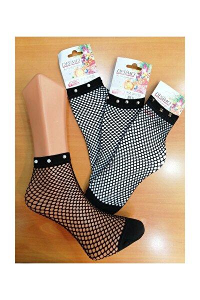 (3 Çift) Taşlı Aksesuarlı File Soket Çorap