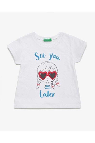 Kız Çocuk Beyaz Güneş Gözlüklü Kız Baskılı Tshirt