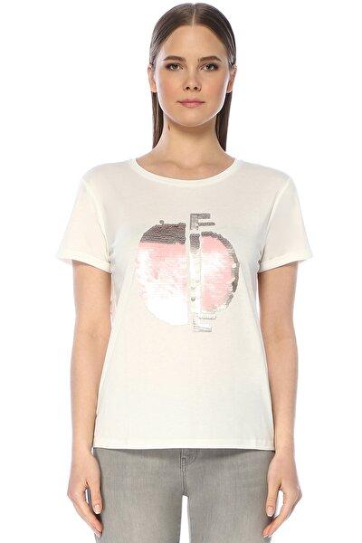 Kadın Bisiklet Yaka Kısa Kol Beyaz Tshirt 1075204