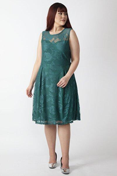 Kadın Yeşil Astarlı Dantel Elbise 65N15955