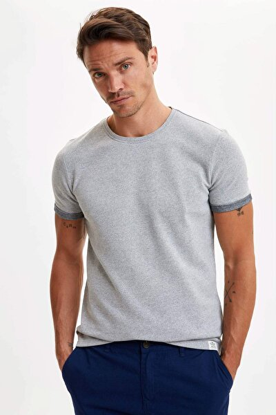 Erkek Gri Kol Katlamalı Slim Fit T-shirt