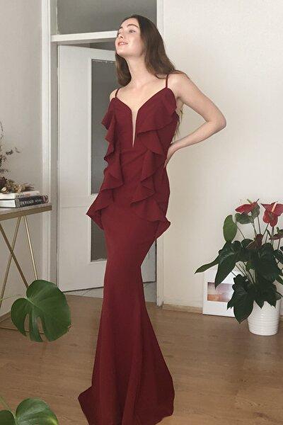 Bordo Volanlı  Abiye & Mezuniyet Elbisesi TPRSS20AE0209