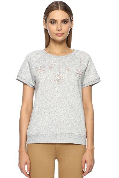 Kadın Basic Fit Gri Melanj Sweatshirt 1071801