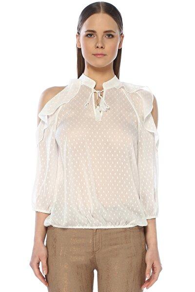 Kadın V Yaka Beyaz Bluz 1072952