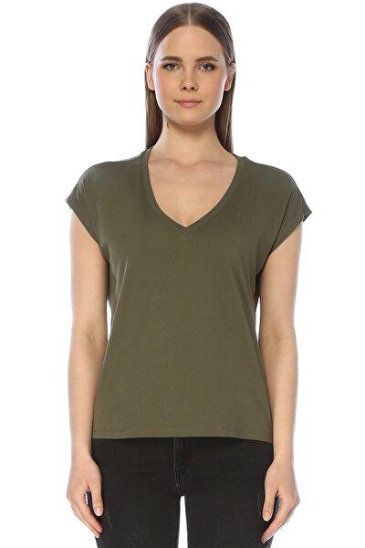 Kadın V Yaka Haki Tshirt 1073325