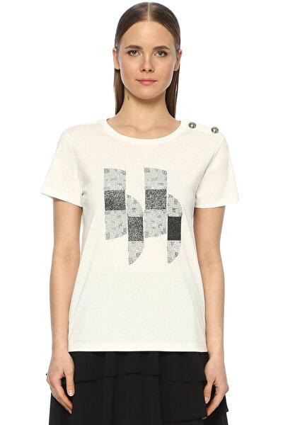 Kadın Bisiklet Yaka Beyaz Tshirt 1073302