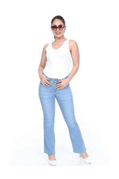 Kadın Normal Bel Açık Mavi Ispanyol Paça Kot Pantolon