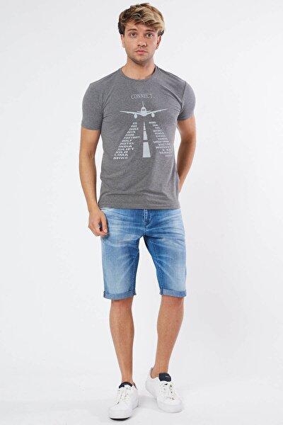 Gri Renk Kısa Kollu Bisiklet Yaka Ön Baskılı Erkek T-shirt
