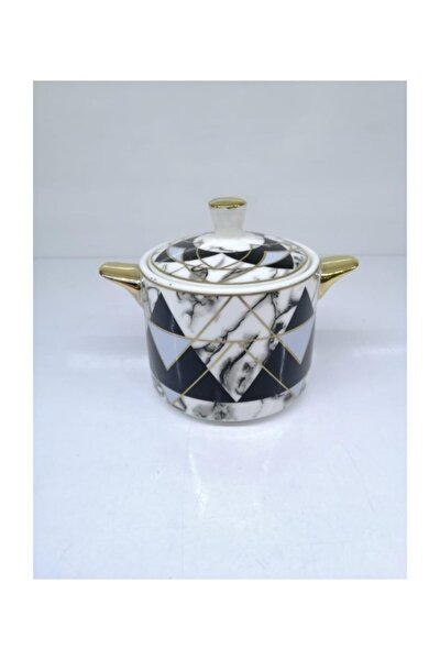 Tea Time Piramit Desen 9x7cm Porselen Şekerlik Teatıme-350